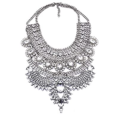NABROJ Costume Chunky Silver Necklace with Clear Crystal Bib Choker Flower Pendant Necklace Collar Bridal Drag Queen Jewelry 1 Pc-HL23 Silver