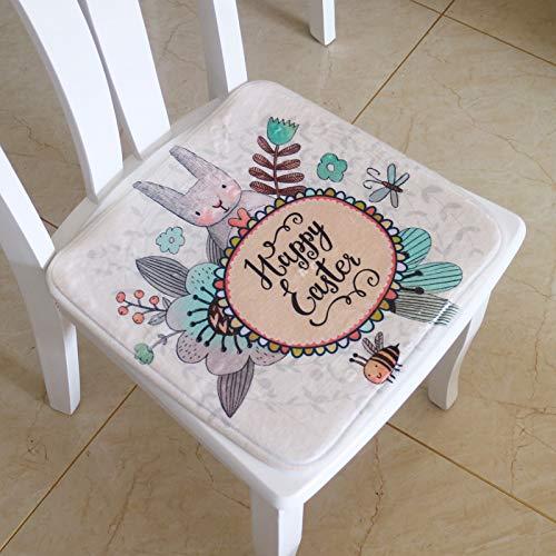 feilai Cojín de silla con diseño de flores de conejo dulce impreso para decoración del hogar, 1 pieza de 40 x 40 cm (color: conejo feliz, especificación: aproximadamente 40 x 40 cm)