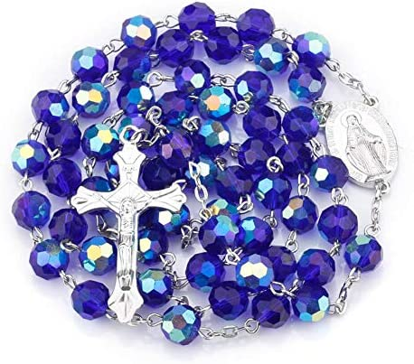 Fatima Gifts Royal Blue Glass Bead Miraculous Medal Rosary Catholic Necklace Velvet Bag product image