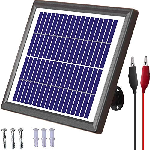 POWOXI Solar Panel 12V 6W Solar Battery Charger Maintainer Bult-in Intelligent Charge Controller Waterproof Solar Trickle Charger Adjustable Mount Bracket Alligator Clip for Gate Opener, Cars, etc.