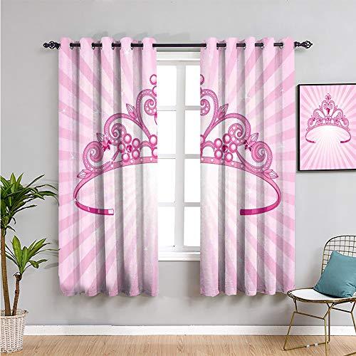 Pcglvie Cortina de granja para nios, 99 cm de largo hermoso rosa de hadas princesa disfraz de corona con imagen de diamante arte cortina de caf de 137 cm de ancho x 96 cm de largo