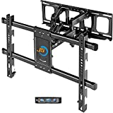 JUSTSTONE TV Wall Mount Full Motion with Height Setting for 37-80 INCH TV up to 121 LBS with Articulating Dual Arms Heavy-Duty Tilt Swivel Extend for Flat & Curved Screen TV, Max VESA 600X400mm