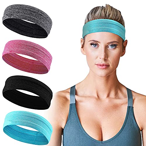 ASM Sports Headbands for Women Non Slip - Athletic Workout Headbands for Exercise - All Hair Style and Head Size - Cool Feel and Quickly Dry Yoga Sweat Head Band (4 Pack)