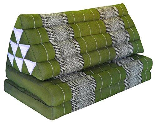 Wifash Coussin Thailandais Triangle XXL avec Assise 2 Plis, détente, Matelas, kapok, Fauteuil, canapé, Jardin, Plage Vert (81817)