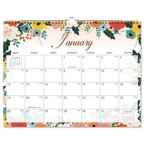 2020-2021 Calendar - 18 Monthly Wall Calendar with Thick Paper, 11 x 8.5, Twin-Wire Binding + Hanging Hook + Unlined Blocks with Julian Dates - Floral