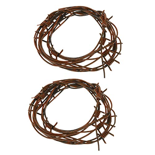 B Blesiya 2pcs Hens Party Wicked Brown Fake Plastic Barb Wire Halloween Party Decor String