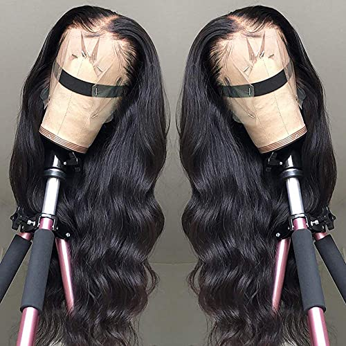 Wingirl 13x4 HD Transparent Lace Front Human Hair Wigs for Women 9A 220% Density Brazilian Body Wave Lace Front Wigs Pre Plucked Hairline with Baby Hair Natural Color(26, 220% density)
