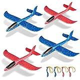 ZWOOS Planos de Espuma,Avión Planeador, 4 Pcs Espuma Aviones Deportes Al Aire Libre Volar Jugueter , Avión Planeador para Juguete Infantil o Regalo