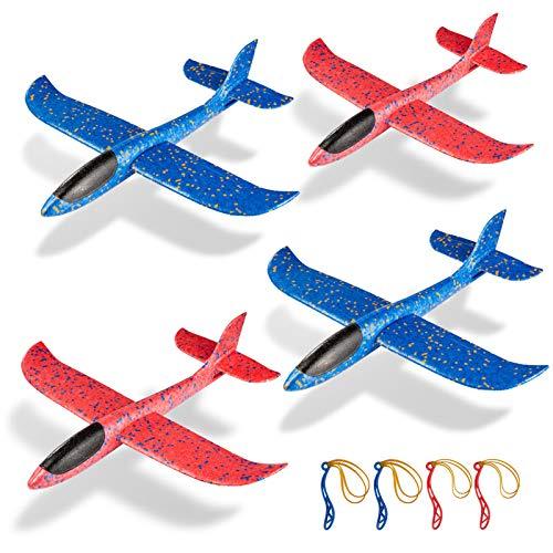 ZWOOS Segelflugzeug, 4 Stück Flugzeug Spielzeug Kinder Schaum Segelflugzeug , Manuelles Werfen Flugzeug, Schaum Flugzeug Spielzeug, Flugzeuge Styropor, Outdoor Sport Spielzeug für Kinder