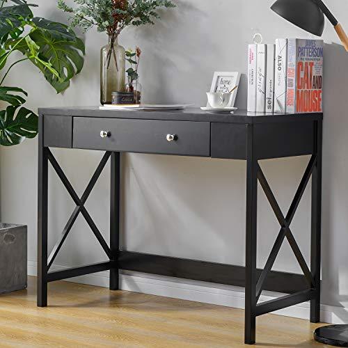 Escritorio de oficina para ordenador, mesa de trabajo, tocador, mesa de oficina, de madera, diseño moderno, sin espejo, con 1 cajón de 100 x 48 x 78 cm, color negro