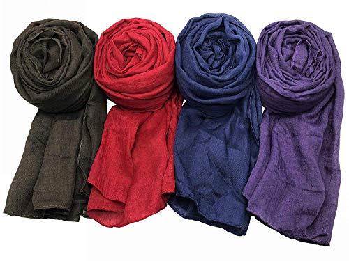 WANBAO 4 Pcs Women Scarves Shawl Keep Warm Scarf Wrap Scarves Fashion Shawls A.