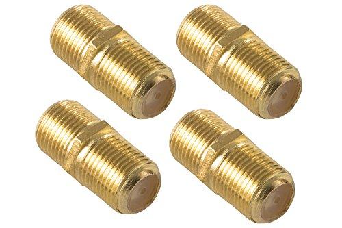 Poppstar 4X SAT Koaxialkabel Kupplung (F-Verbinder (Buchse auf Buchse) für 4-8,2 mm Coax Kabel mit F-Stecker), Verbindungsstecker für Koax - Antennenkabel, vergoldet