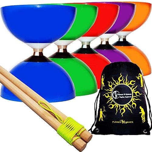 Juggle Dream Rodamiento de Bolitas Diabolo Carousel + Palillos de Madera Diabolo, Diablo Cordel + Diabolos Bolsa de Viaje. (Azul Diabolo + De Madera Palo de Mano)
