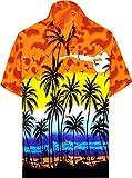 LA LEELA Men's Vintage Palm Tree Beach Camp Short Sleeve Hawaiian Shirt XL Orange_W138