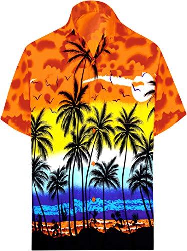 LA LEELA   Funky Camicia Hawaiana Da Uomo   XS - 7XL   Maniche Corte   Tasca Frontale   Stampa Hawaiana   Estivo Estate Spiaggia Palme Arancione_W138 XS - Torace (in cms) : 91 - 96