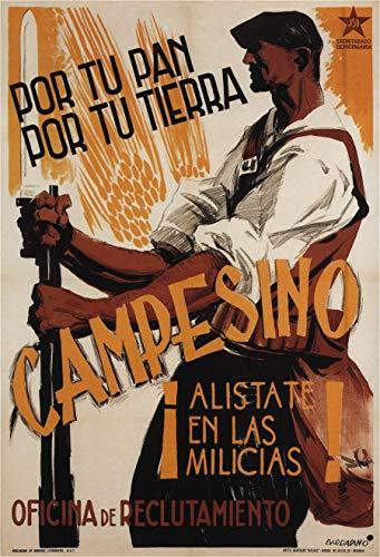 Póster vintage de propaganda de la guerra civil española 'campesino! Enlistado en la milicia', España, 1936-39, reproducción de 200 g/m² A3 Vintage Propaganda Poster