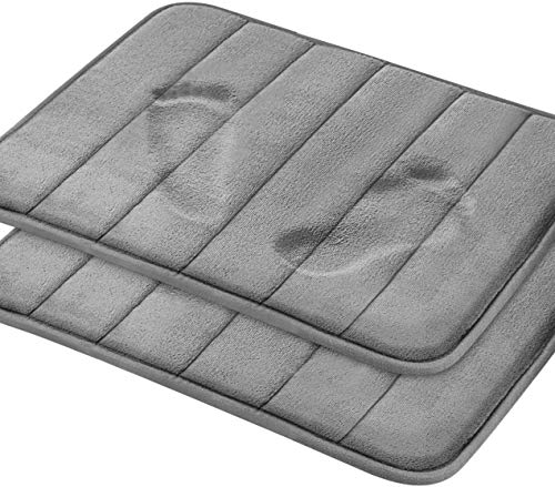 Magnificent Memory Foam Bath Mat, 2 Pack, 17 x 24 Bathroom Rugs, Non Slip Ultra Absorbent, Grey