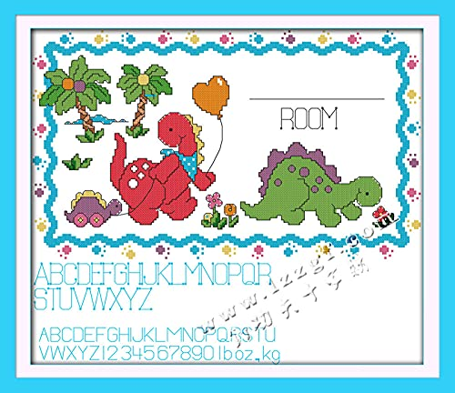 DIY Kits de Bordado Punto Cruz-DIY 11CT Cross Stitch Kit de Herramienta de Puntada Cruzada Contada a Mano (40x50cm)- Certificado de nacimiento de dinosaurio bebé