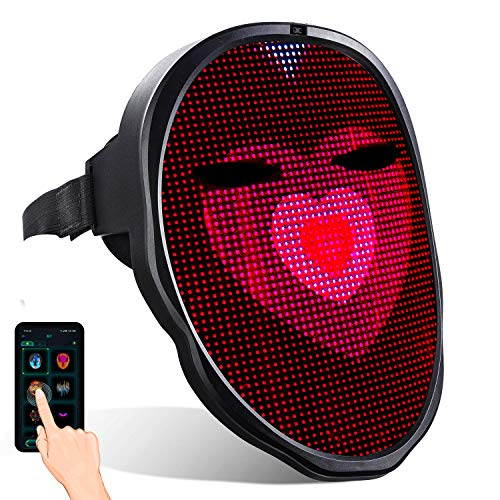 megoo LED-Maske mit Bluetooth programmierbar,verwendet in Kostüm Cosplay Party Maskerade Spielzeug,leuchten Erwachsenenmaske,coolste Maske im Jahr 2021(USB Recharge)