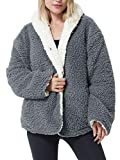 Tirrinia Sherpa Jacket Hooded Pullover for Women, Super Soft Comfy Plush Reversible Casual Teddy Bear Blanket Jackets Hoodie Grey