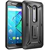 SupCase [Unicorn Beetle PRO Series for Motorola Moto X Style/Pure Edition 2015, [Heavy Duty] Belt Clip Holster Case with Built-in Screen Protector (Black/Black)