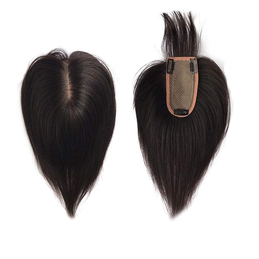 する種規制HOHYLLYA 女性のための空気前髪のかつらと本物の髪の手の針の自然な毛延長クリップ髪の量を増やすパーティーのかつら (色 : Natural black, サイズ : [7x13] 25cm)