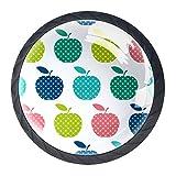 Manzanas multicolor, paquete de 4 pomos redondos de ABS para cajón, sin terminar, tiradores de gabinete y herrajes para cajón, armario o aparador