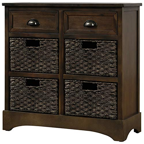 Knocbel Home Collection Wicker Storage Cabinet Solid Wood 4-Basket Chest with 2 Drawers for KitchenDining RoomEntrywayLiving Room Fully Assembled 28L x 118W x 28H Dark Brown