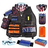 Owutong Kit de chaleco táctico para niños, chaleco táctico ajustable con balas Nerf, clips de recarga, correa de muñeca y gafas protectoras
