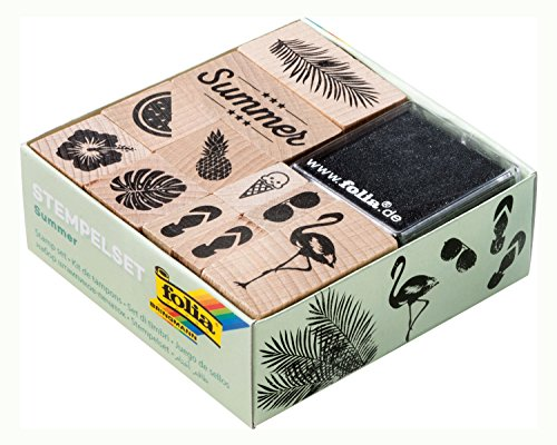 folia 31101 - Holzstempelset Summer, inklusive 11 Holzstempel und 2 Stempelkissen - ideal zum Verzieren von Karten, Freundschaftsbüchern, für Lettering und Scrapbooking