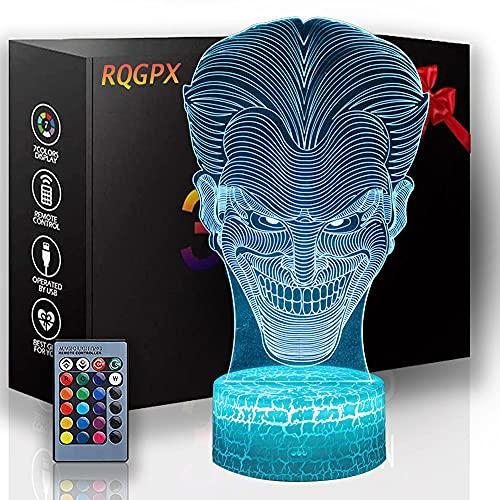 3D LED noche luz 3D ilusión lámpara el Joker 16 colores cambio decoración lámpara con control remoto para niños, regalos para niños