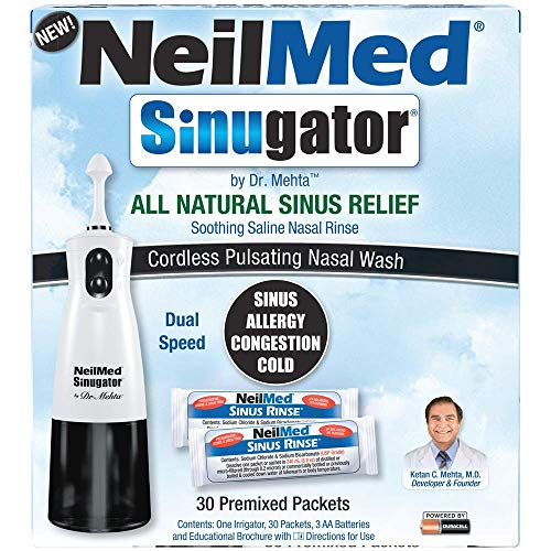 NeilMed Sinugator Cordless Pulsating Nasal Irrigator (Dual Speed) with...