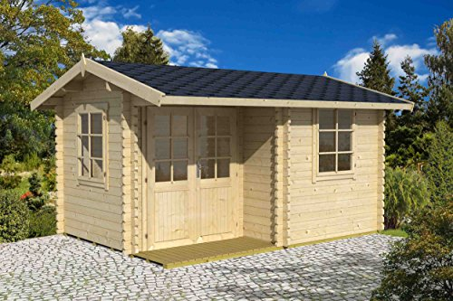 *Gartenhaus G216 inkl. Fußboden – 44 mm Blockbohlenhaus, Grundfläche: 11,43 m², Satteldach*