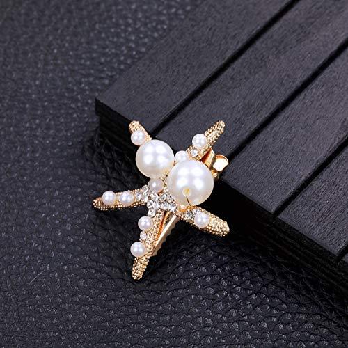 Surray Starfish Hair Clip Rhinestone Pearl Hair Accessories for Women Girls Cute Barrettes for Party Beach Decoration