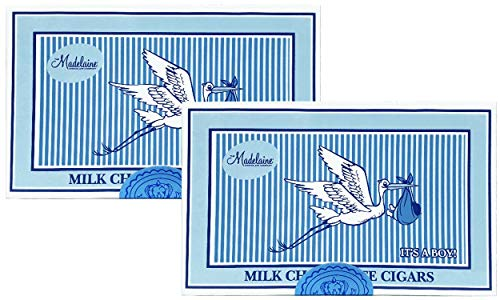 Madelaine Premium Milk Chocolate Cigars - It's a Boy Baby Shower Favors Gift Box - Individually Wrapped In Blue Italian Foils (2 Pack, 24 Cigars Box)