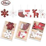 ekkong 30 pezzi albero di natale ornamenti, ornamento in legno, abbellimenti natalizi,decorazioni per albero di natale,ciondolo albero di natale (30pcs)