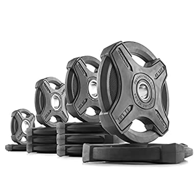 XMark SIGNATURE Olympic Plate Weights, 100% Virgin Rubber, Olympic Plate Sets, Olympic Grip Plate, 2-Inch Weight Plates, Rubber Grip Olympic Plate Weights, Weight Sets, 155 lb. Set