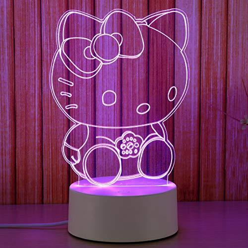 Veilleuse Lled lampe de chevet 3D petite lampe de table chambre plug-in cadeau d'anniversaire pour petite amie créative Hello Kitty (touche colorée)