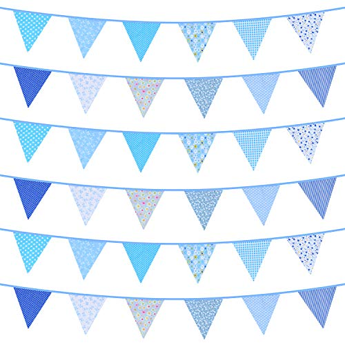 Dudu Cream Large Fabric Bunting Banner, 33 Feet Triangle Flag Garland, 36pcs Floral Pennants, Double Sided Vintage Cloth Garland for Wedding Birthday Party Garden Baby Shower Home Decoration (Blue)