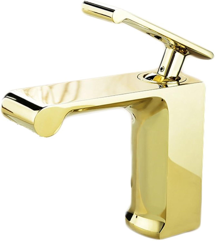 Bathroom sink taps Single lever pure copper golden continental lavatory faucets -A