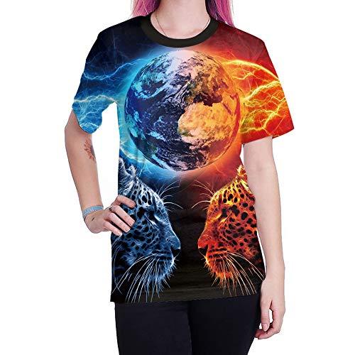 XIAOBAOZITXU T-Shirt Abbigliamento per Uomo E Donna Leopardo Blu Fiamma Maniche Corte Stampa Digitale 3D Girocollo T-Shirt di Grandi Dimensioni Moda Sport Allentata S
