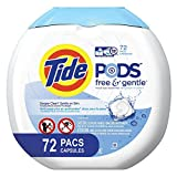 Tide Free and Gentle Laundry Detergent Pods, 72 Count, Unscented and Hypoallergenic for Sensitive Skin