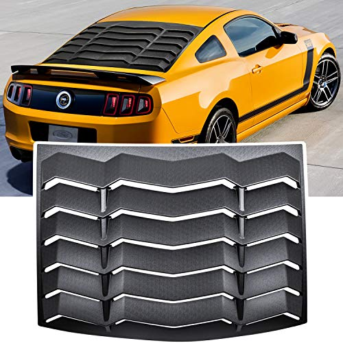 E-cowlboy Rear Window Louver Windshield Sun Shade Cover for Ford Mustang 2005-2014 in GT Lambo Style Custom Fit All Weather ABS (Matte Black)