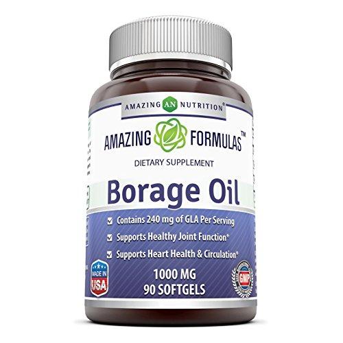 Amazing Formulas Borage Oil Dietary Supplement - 1000mg Capsules -90 SoftGels Per Bottle - 240mg Gamma Linoleic Acid (GLA) and 380mg Linoleic Acid -90 SoftGels Per Bottle (Non-GMO,Gluten Free)