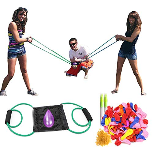 KWOLYKIM Water Balloon Launcher 300 Yard Snowball Balloon Slingshot Trebuchet with 500 Water Balloons Outdoor Game for Kids and Adults Eggs Slingshot Launcher