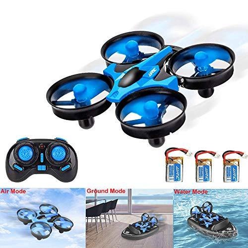 3T6B 3 en 1 RC Drone para Niños, Mini Hovercraft, Cuadricóptero de Rotación de 360 Grados con Control Remoto, Modo sin Cabeza, Tierra / Agua / Aire dron de Deformable Anfibio, Año Nuevo Regalo