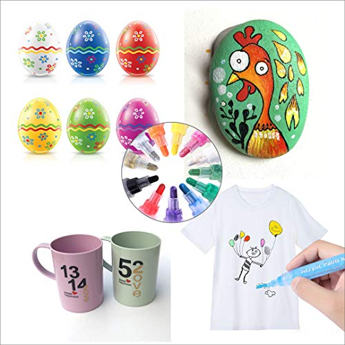 Acrylic Paint Marker Pens for Rocks Painting, DIY Kids Craft Making Supplies Acrylic Paint Pens for Egg, Metal,Stone, Wood, Glass, Ceramic, Fabric, Mugs, Paints for Kids Acrylic Paint Kits (12 Colors) Photo #5