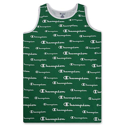 Champion Big and Tall Men's Workout Tank Top - Sleeveless Gym Jersey Muscle Shirt Kelly Green White 4XLT