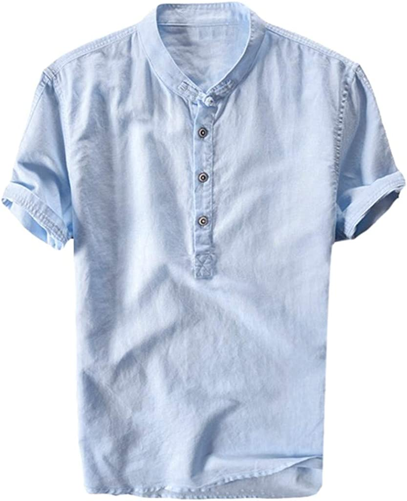 DIOMOR Men's Fashion Linen Pure Color Short Sleeve Henleys Shirt Casual Comfy Button Down Shirts Tops Blouse Pullover
