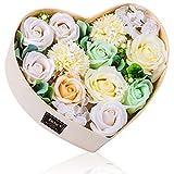 バラ型ソープフラワー ハートフラワー形状ギフトボックス 誕生日 母の日 記念日 先生の日 バレンタインデー 昇進 転居など最適としてのプレゼント (白い)